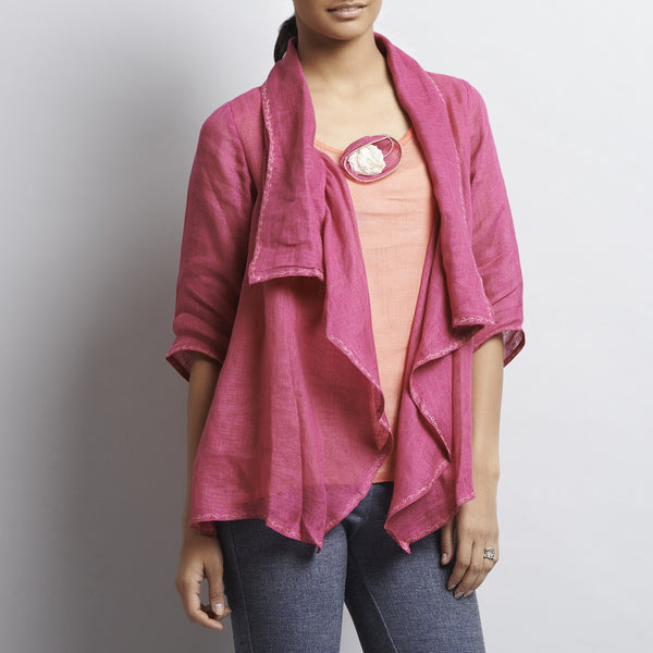 Pink Linen Button Jacket With Embroidery