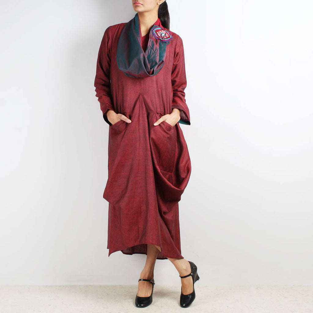 Maroon Cup Runneth Over Dress with Scarf & Brooch by Kaveri / K Clothing