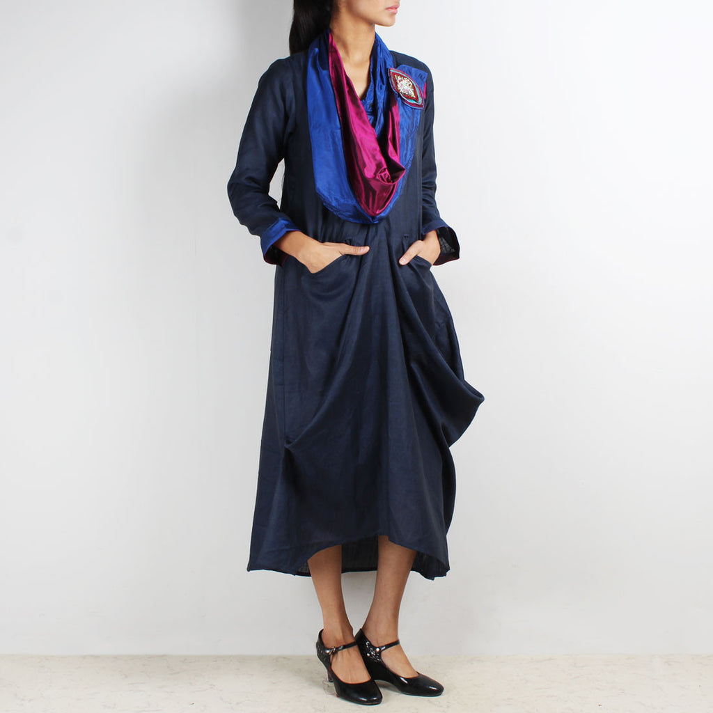 Blue Cup Runneth Over Dress With Scarf & Brooch by Kaveri / K Clothing