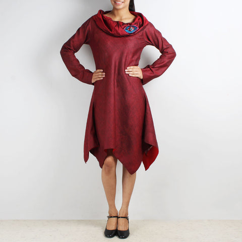 Maroon Asymmetric Dress With Cowl Collar & Brooch by Kaveri / K Clothing