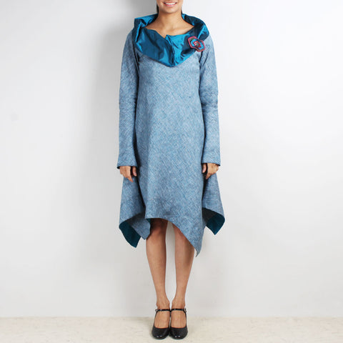 Blue Asymmetric Dress With Cowl Collar & Brooch by Kaveri / K Clothing