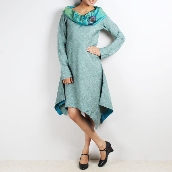 Green Asymmetric Dress With Cowl Collar & Brooch