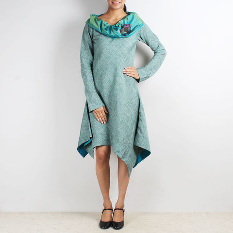 Green Asymmetric Dress With Cowl Collar & Brooch by Kaveri / K Clothing