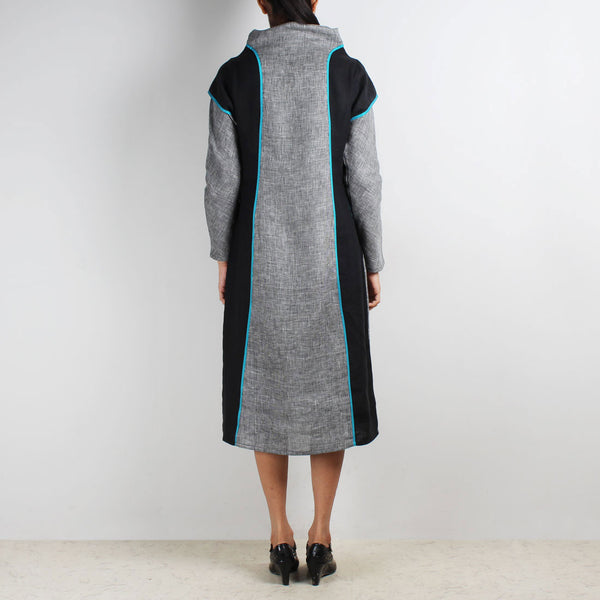 Jute & Linen Cowl Collar Color Block Dress