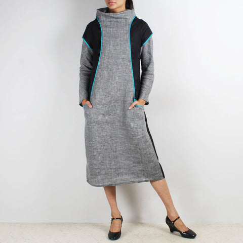Jute & Linen Cowl Collar Color Block Dress by Kaveri / K Clothing