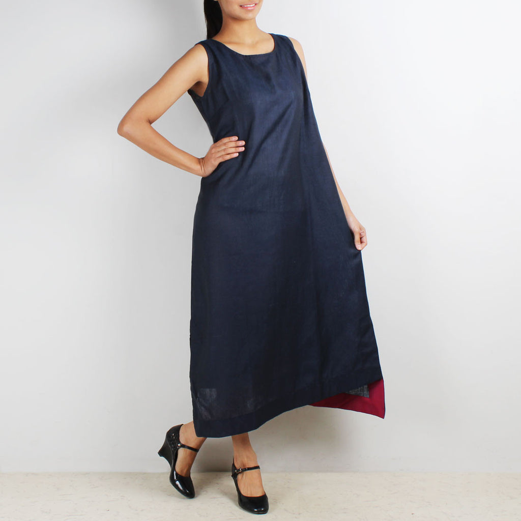 Royal Blue Sleeveless Asymmetric Dress by Kaveri / K Clothing