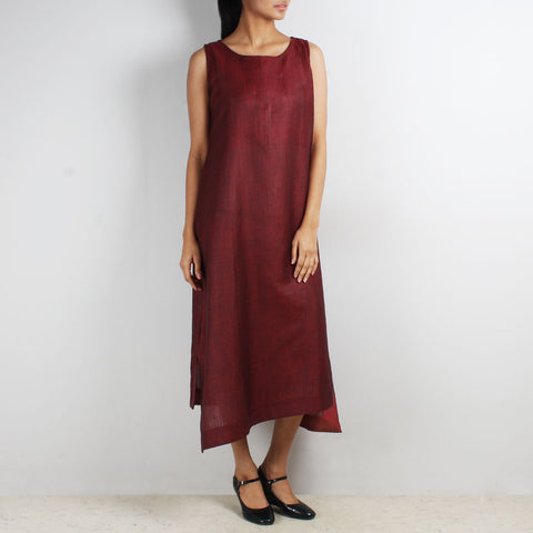 Maroon Sleeveless Asymmetric Dress by Kaveri / K Clothing