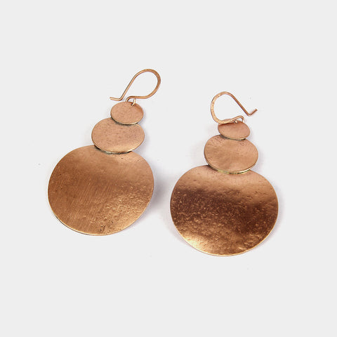 Handcrafted Copper Circles Earrings by KALPAVEDA