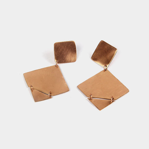 Handcrafted Copper Rhombus Earrings by KALPAVEDA