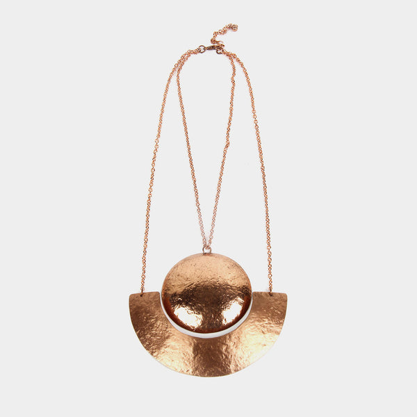 Handcrafted Geometric Copper Neckpiece by Kalpaveda