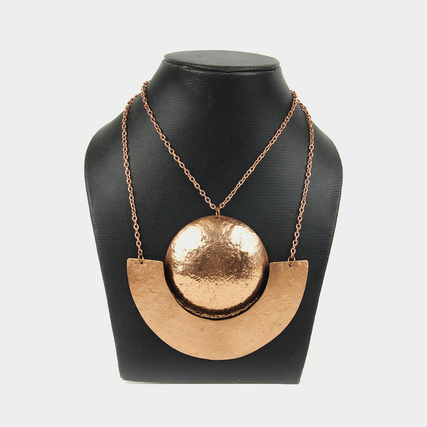 Handcrafted Geometric Copper Neckpiece