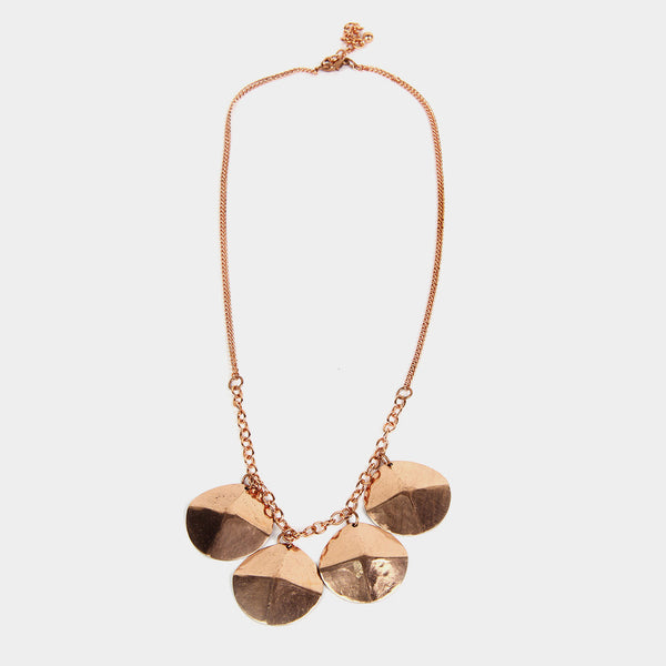 Handcrafted Four Circular Copper Necklace by Kalpaveda