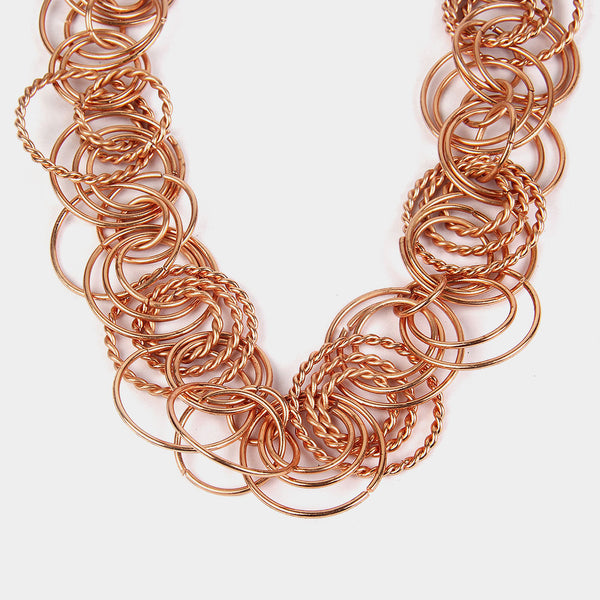 Handcrafted Multiple Rings Copper Necklace