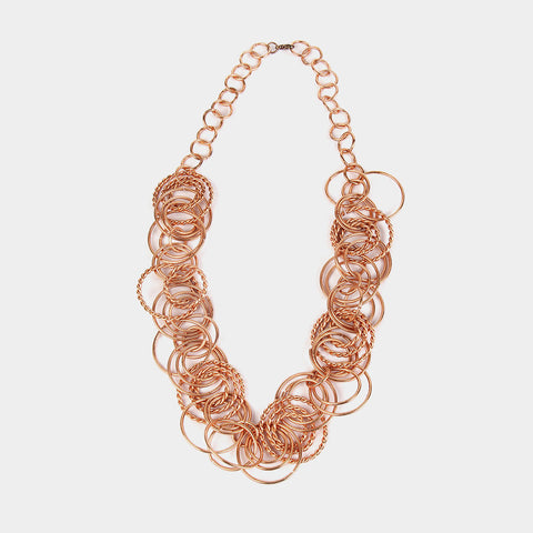 Handcrafted Multiple Rings Copper Necklace by Kalpaveda