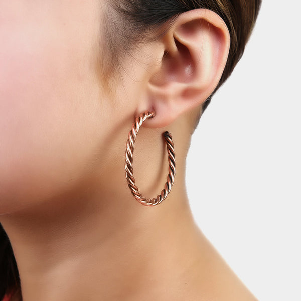 Handcrafted Swirled Hoop Copper Earrings