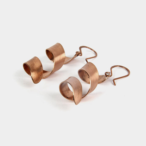 Handcrafted Swirl Copper Earrings by KALPAVEDA