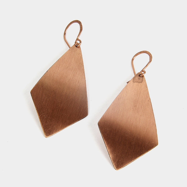 Handcrafted Hammered Rhombus Copper Earrings