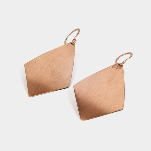 Handcrafted Hammered Rhombus Copper Earrings by KALPAVEDA