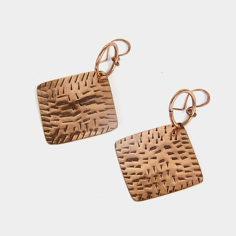 Hammered Rhombus Handcrafted Copper Earrings by KALPAVEDA