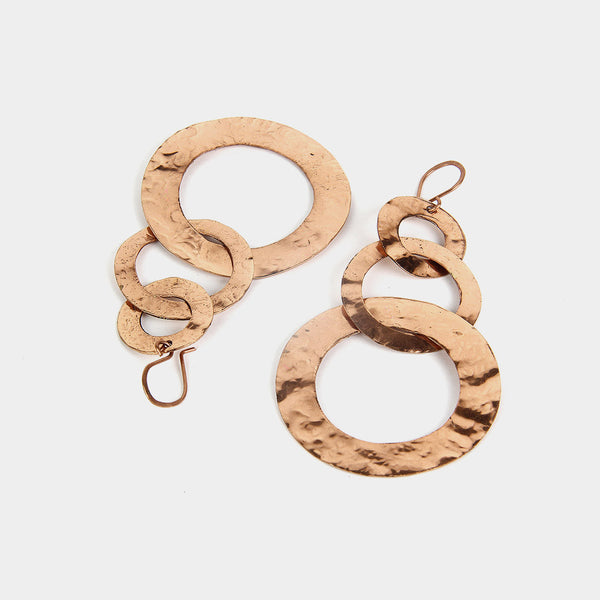 Handcrafted Three Hoops Copper Earrings