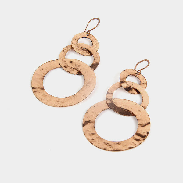 Handcrafted Three Hoops Copper Earrings by KALPAVEDA