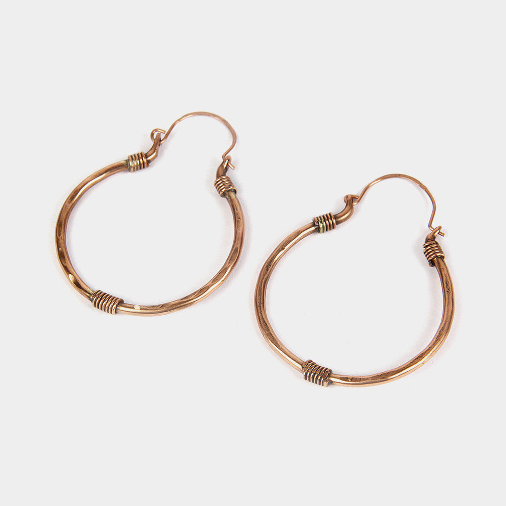 Handcrafted Spring Copper Earrings by KALPAVEDA