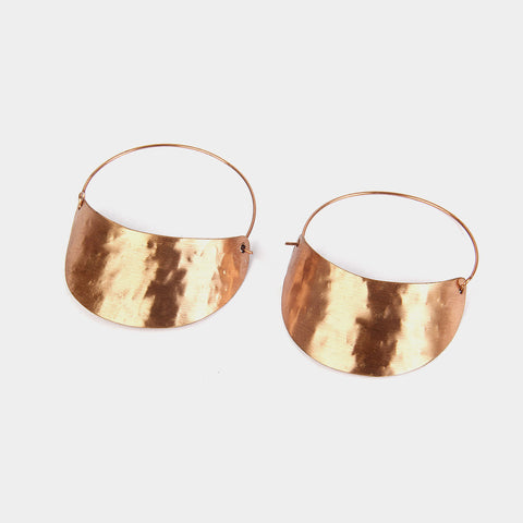 Handcrafted Half-Moon Copper Earrings by KALPAVEDA