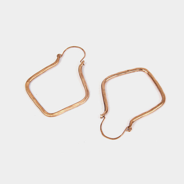 Handcrafted Copper Square Hoop Earrings