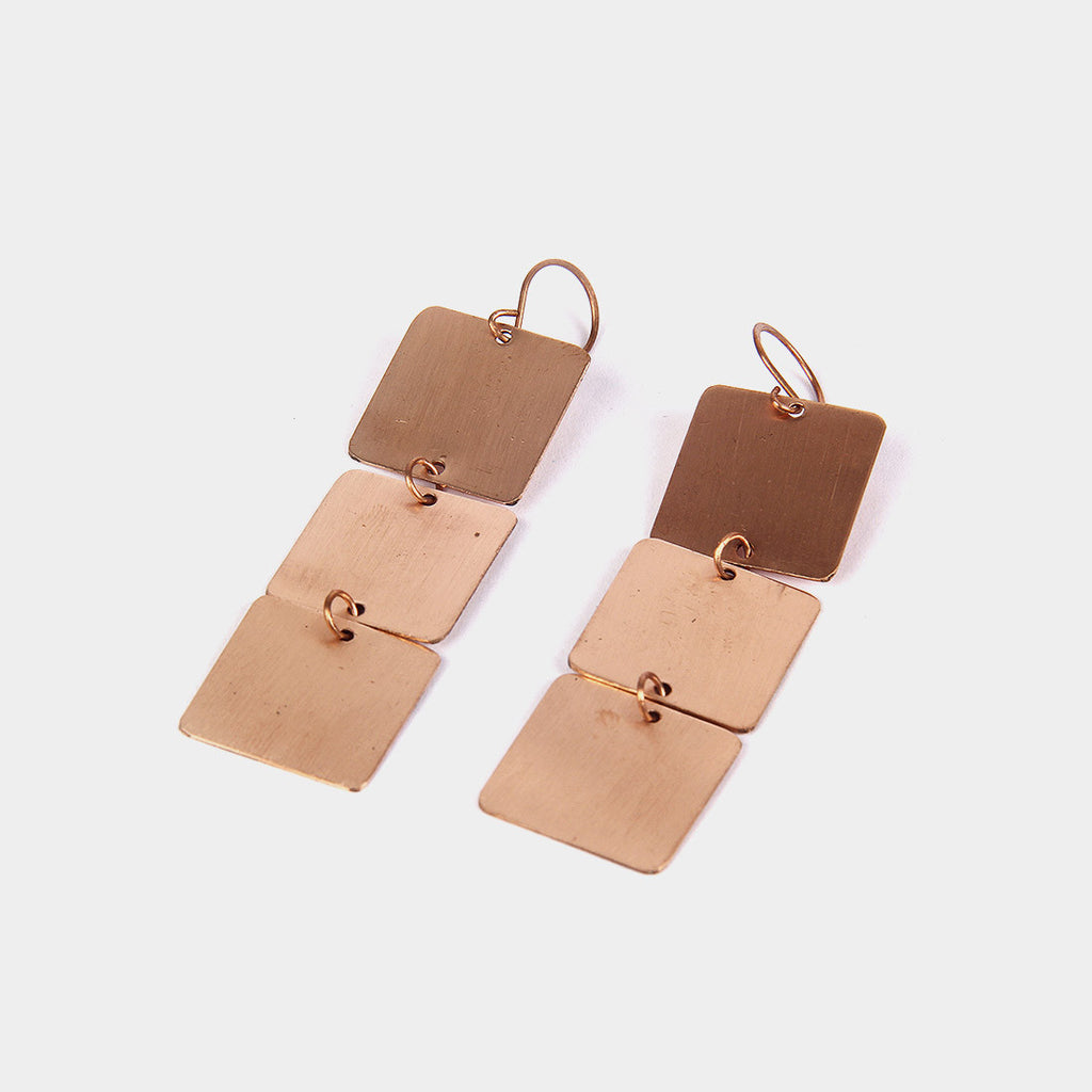 Handcrafted Copper Square Earrings by KALPAVEDA