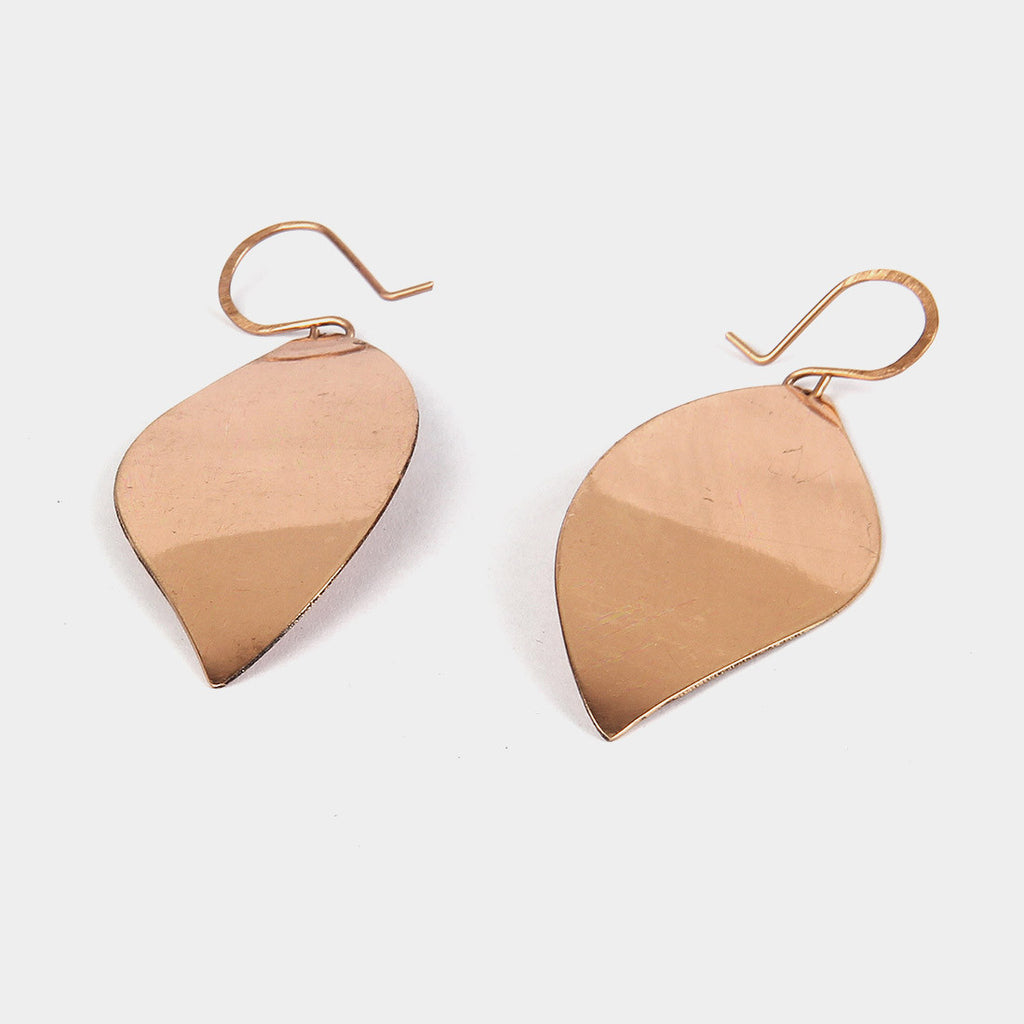 Handcrafted Copper Leaf Earrings by KALPAVEDA