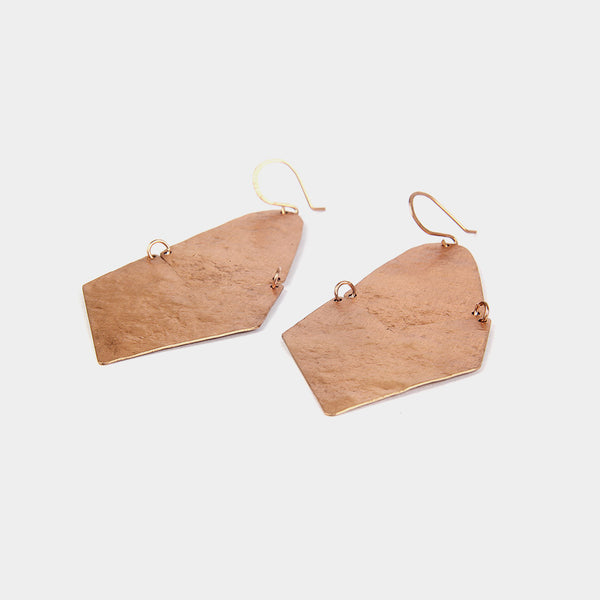 Handcrafted Broad Copper Earrings