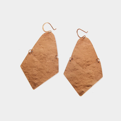 Handcrafted Broad Copper Earrings by KALPAVEDA