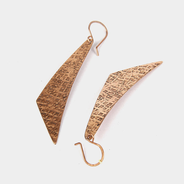 Handcrafted Copper Boomerang Earrings