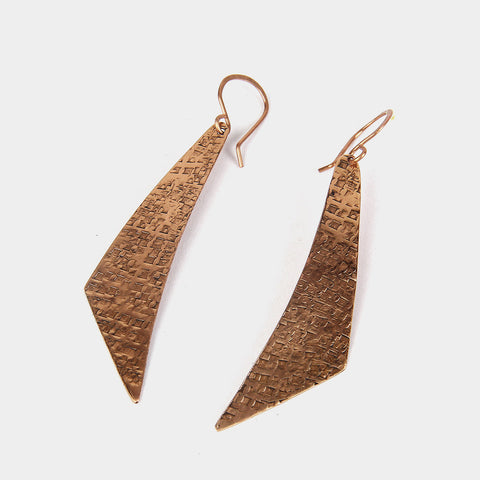 Handcrafted Copper Boomerang Earrings by KALPAVEDA