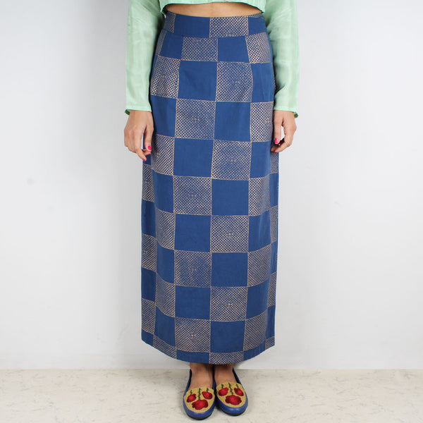 Amber Golden Checks Block Printed Skirt by Ka-Sha