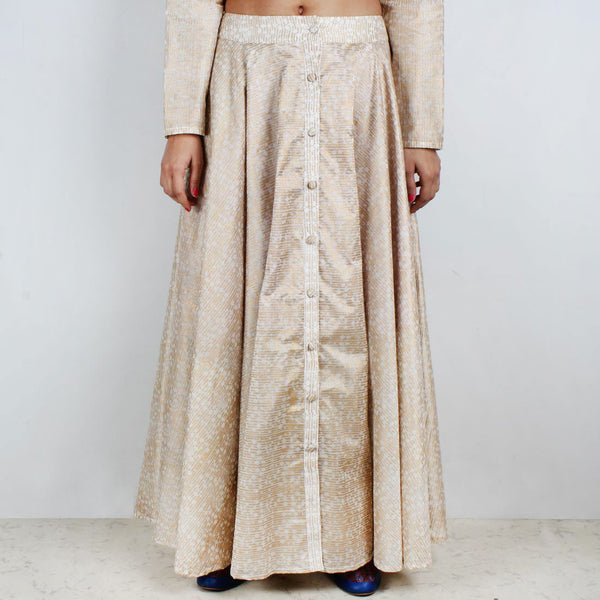 Sunher Chanderi Block Printed Skirt