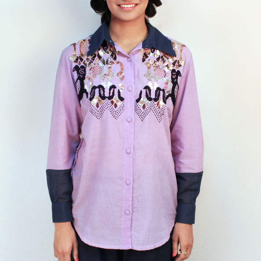 Mauve Embroidered Yoke Shirt by Ka-Sha