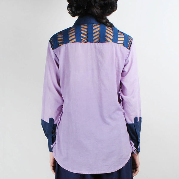 Mauve Embroidered Yoke Shirt