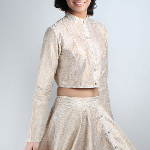 Sunher Block Printed Chanderi Crop Top by Ka-Sha