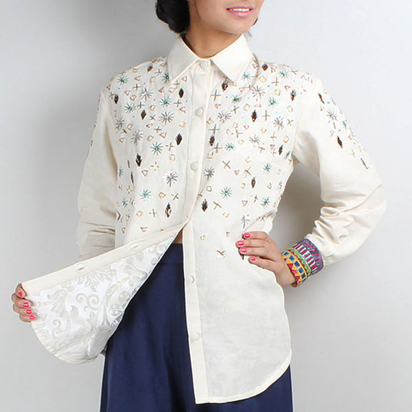 Off White Khadi Embroidered Jagmil Shirt