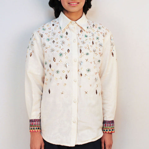 Off White Khadi Embroidered Jagmil Shirt by Ka-Sha