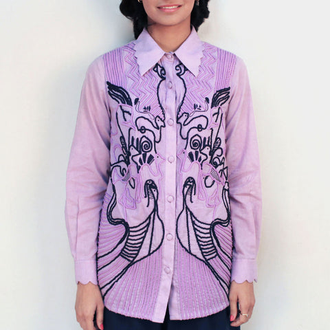 Maar Mauve Embroidered Shirt by Ka-Sha