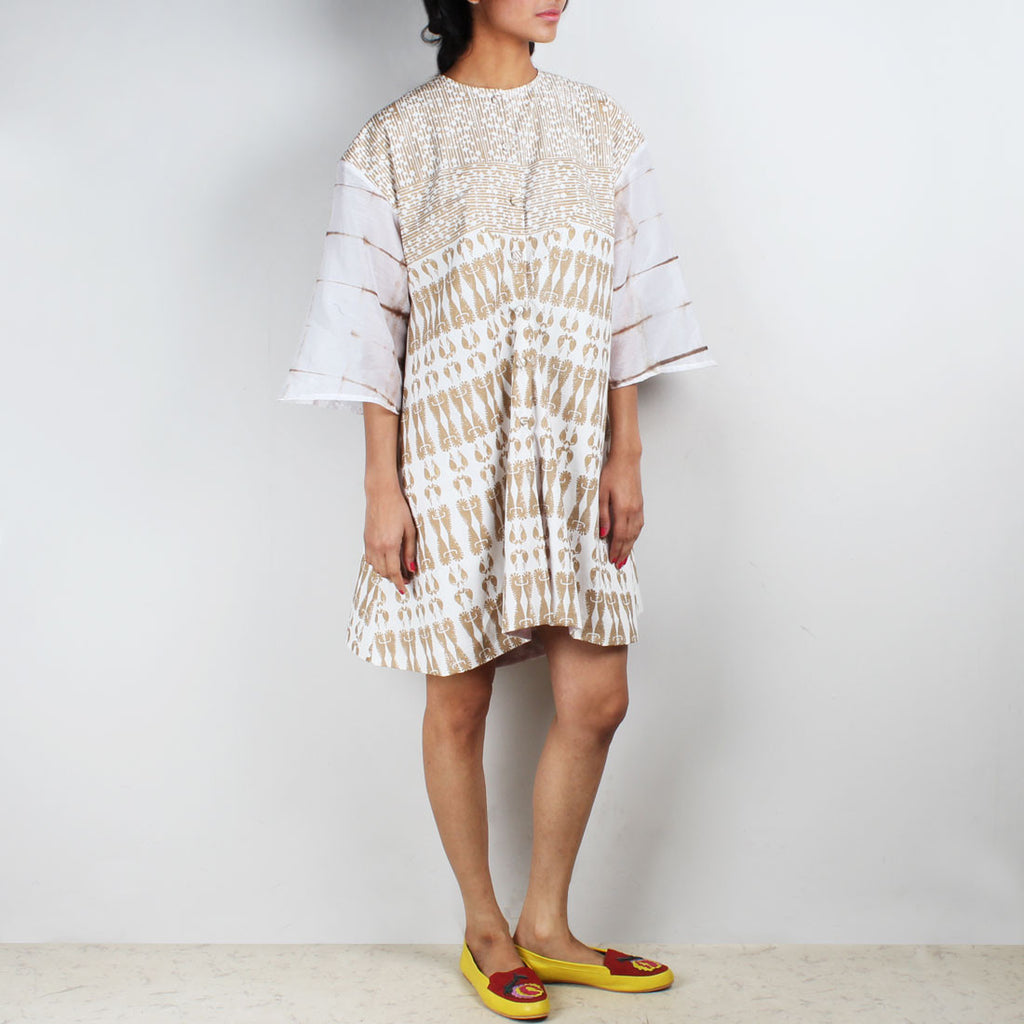 Gold & White Aye Block Printed Tunic by Ka-Sha