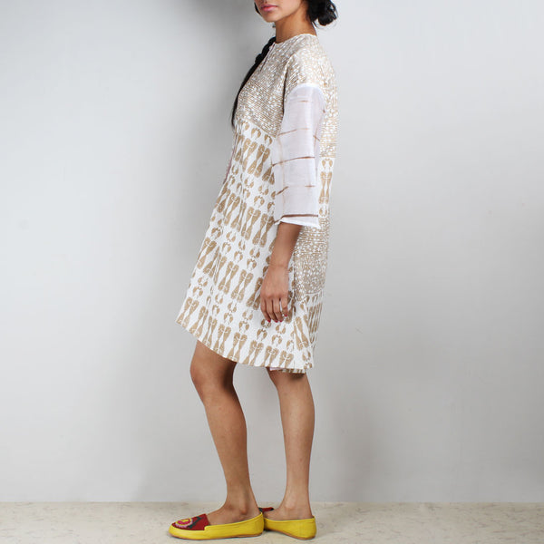Gold & White Aye Block Printed Tunic