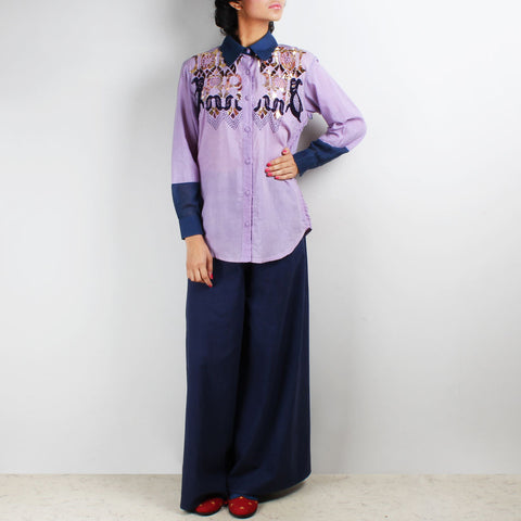 Set Of Maar Mauve Embroidered Shirt & Palazzo Pants by Ka-Sha