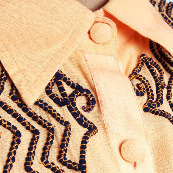 Set Of Maar Orange Embroidered Shirt & Palazzo Pants