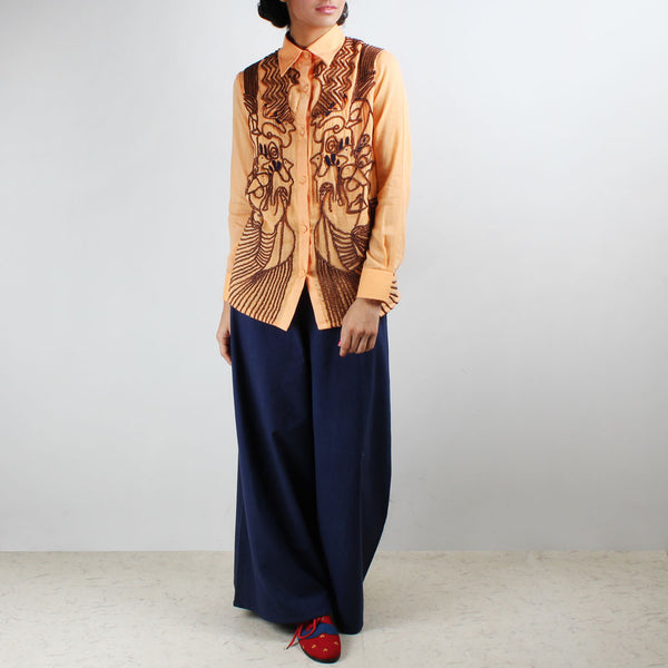 Set Of Maar Orange Embroidered Shirt & Palazzo Pants by Ka-Sha