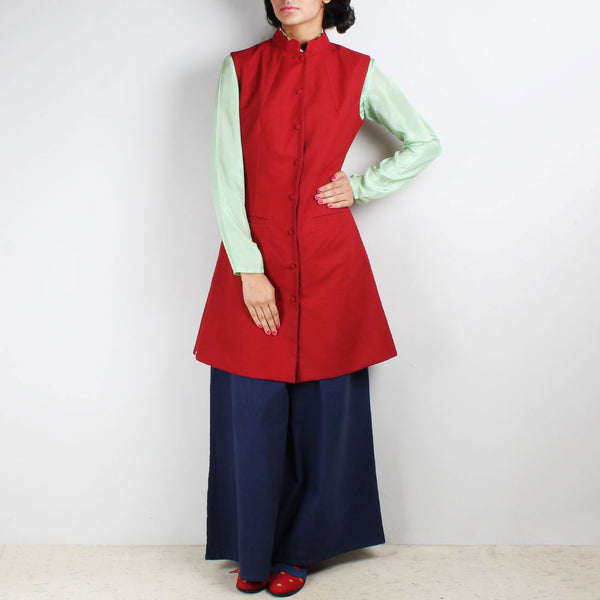 Set Of Nehru Reversible Jacket & Palazzo Pants by Ka-Sha