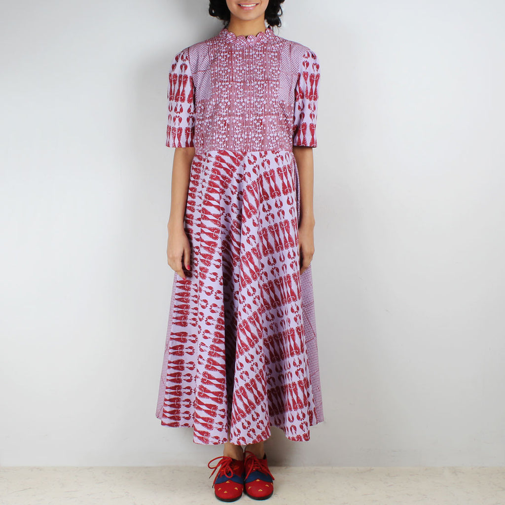 Poora Paneled Block Printed Dress by Ka-Sha