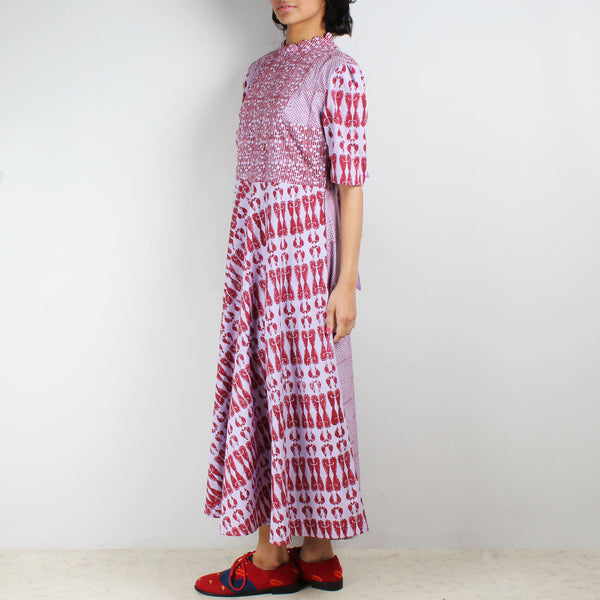 Poora Paneled Block Printed Dress